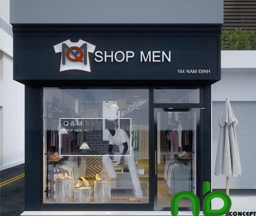 Thiết kế cửa hàng quần áo nam với kính trong suốt