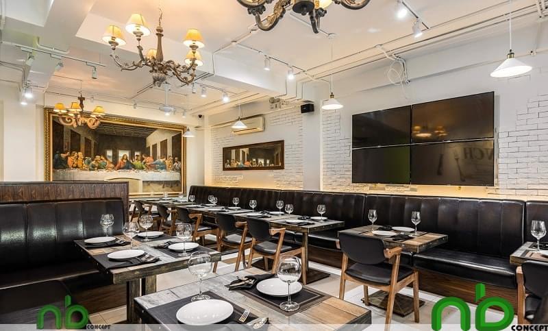 Thực tế thiết kế + thi công nội ngoại thất nhà hàng Nhật Bản Luna Bianca