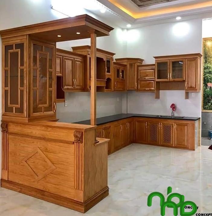 Mẫu tủ bếp gỗ căm xe đơn giản mà đẹp