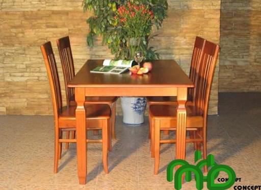 Bộ bàn ăn bốn chỗ bằng gỗ xoan đào thiết kế hình tròn, chân trụ vững chãi