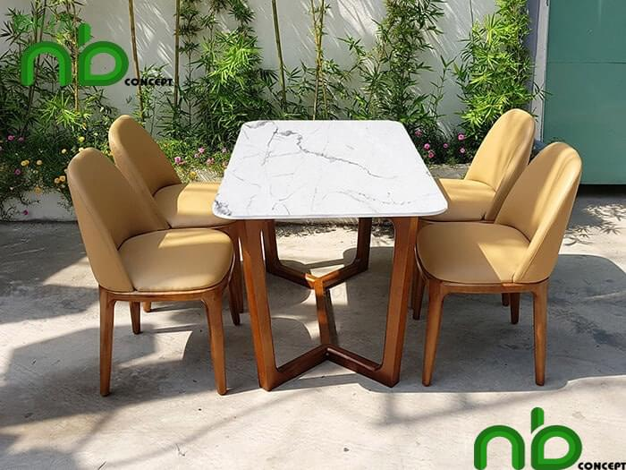 Hình ảnh bộ bàn ăn 4 người mặt đá hiện đại mang phong cách trẻ trung, sành điệu