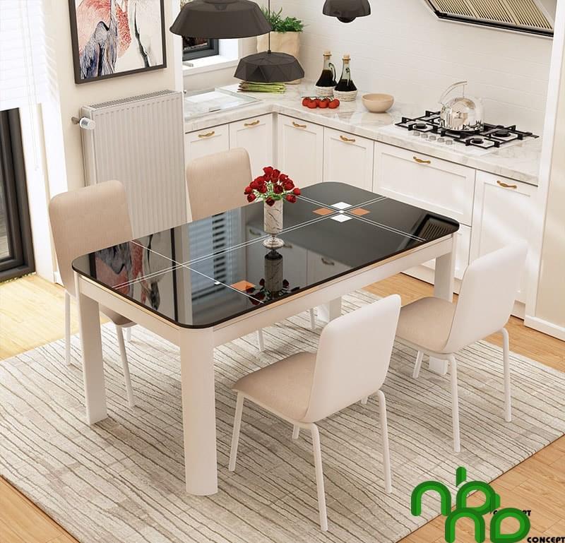 Bộ bàn ăn 4 ghế cách điệu mặt đá