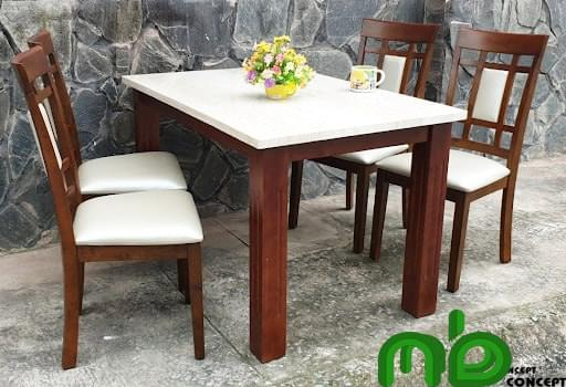 Bộ bàn ăn 4 ghế giả đá