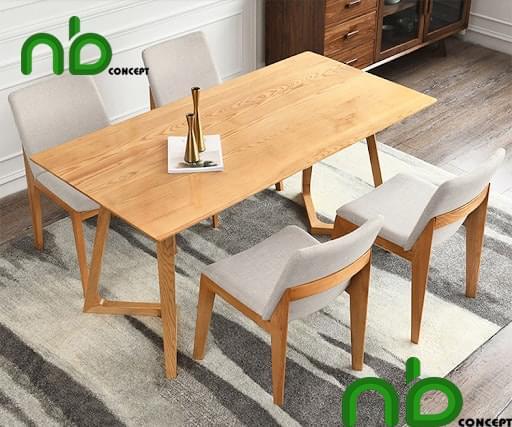 Bộ bàn ăn 4 ghế gỗ sồi bọc nỉ cao cấp