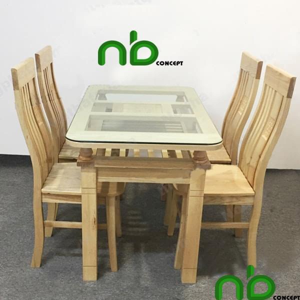 Bộ bàn ghế ăn 4 ghế gỗ sồi phối với mặt kính đẹp