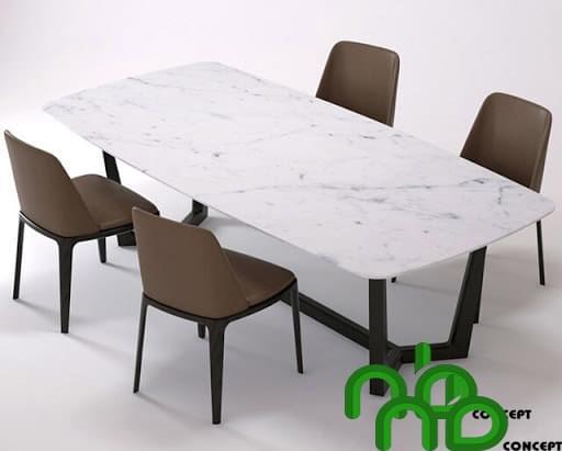 Bộ bàn ghế ăn 4 hình chữ nhật mặt đá