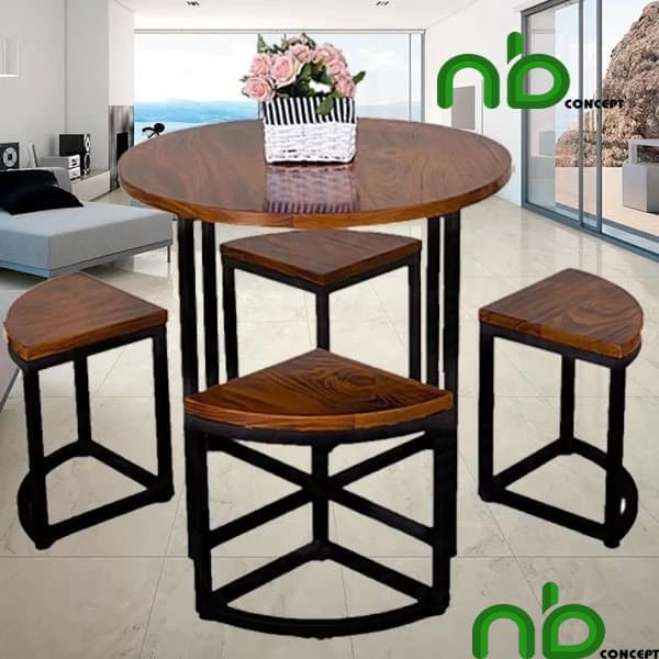 Bộ bàn ghế ăn 4  ngồi mặt bàn tròn tinh tế