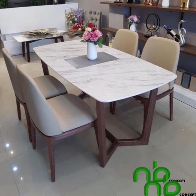 Bộ bàn ghế ăn 4 ghế mặt đá
