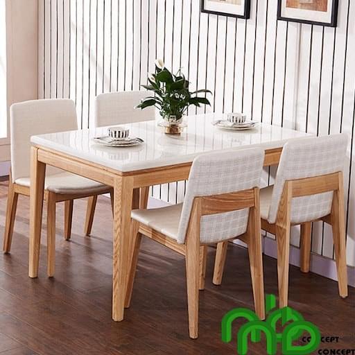 Bộ bàn ghế ăn 4 chỗ màu trắng tinh khôi