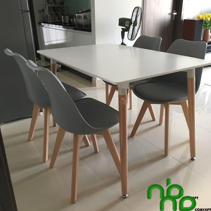 Bộ bàn ghế ăn 4 chỗ nệm hiện đại