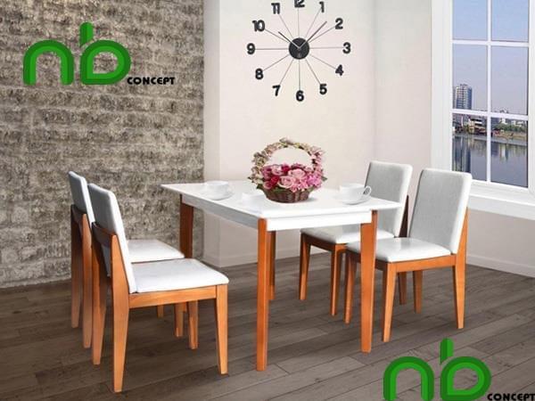 Bộ bàn ăn 4 ghế trắng phối gỗ