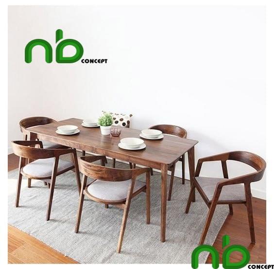 Bộ bàn ăn hiện đại bằng gỗ cao su