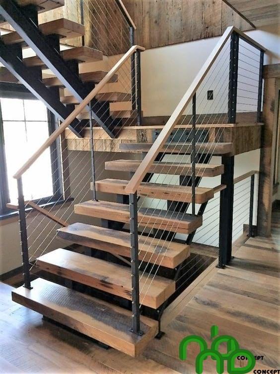 Mẫu thiết kế cầu thang gỗ đẹp hiện đại và sang trọng