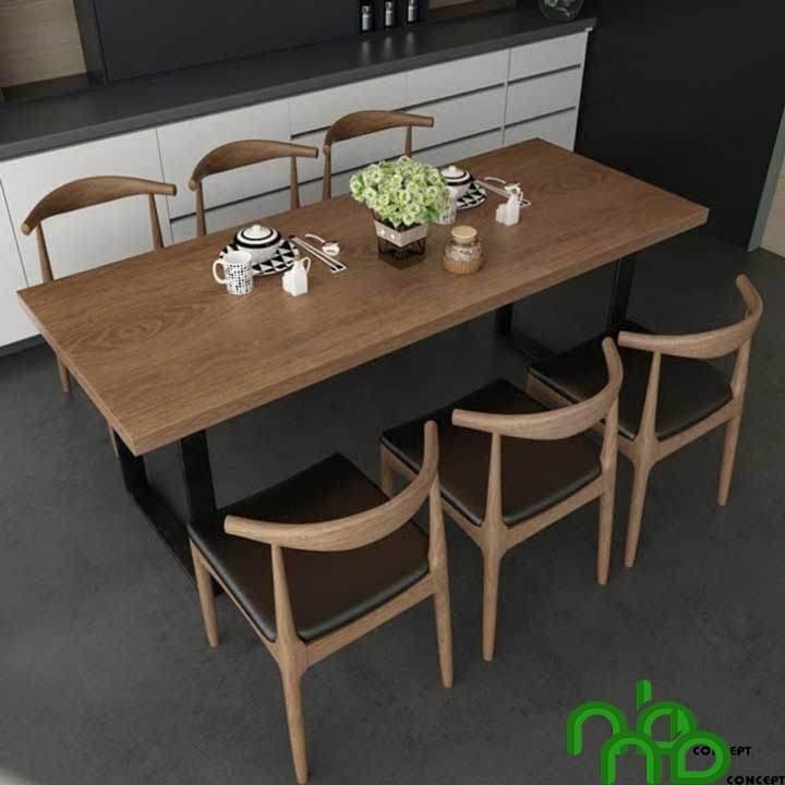 Mẫu sản phẩm bộ bàn ăn gỗ với 6 ghế bằng gỗ