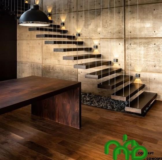 Mẫu thiết kế cầu thang gỗ đẹp kết hợp giây an toàn