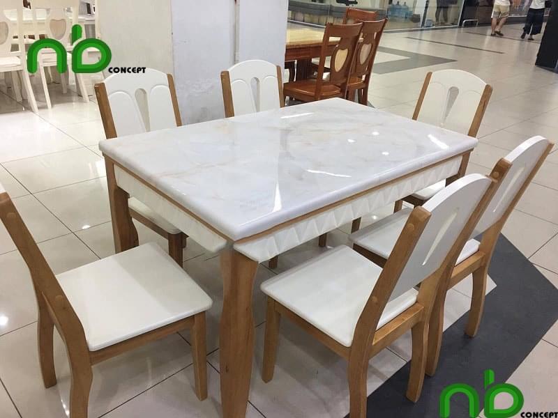 Mẫu bàn ăn đẹp hiện đại với 6 ghế