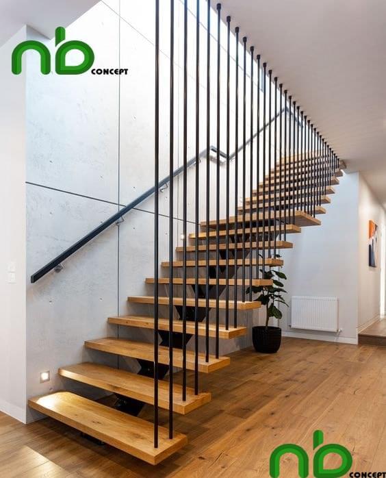 Mẫu thiết kế cầu thang gỗ đẹp hiện đại và tự nhiên cho ngôi nhà bạn