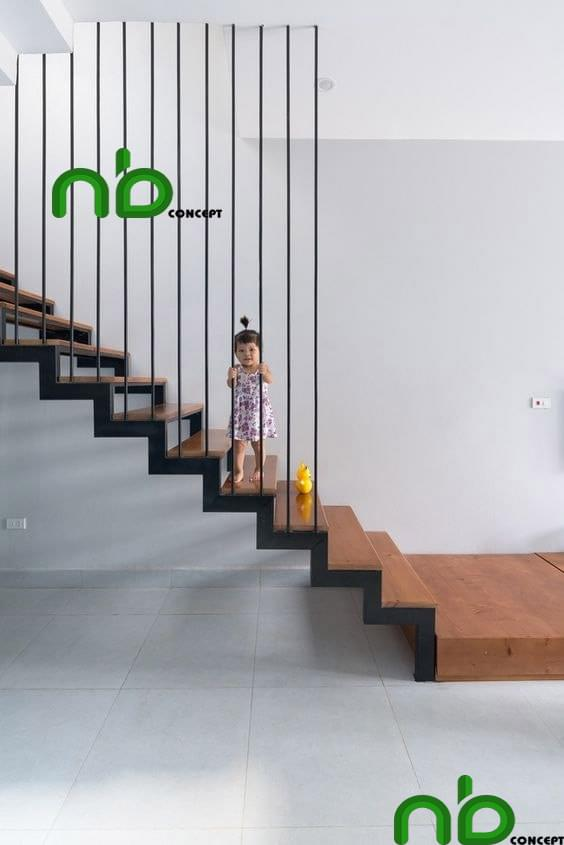 Mẫu cầu thang đơn giản nhưng vẫn an toàn và nổi bật cho ngôi nhà bạn