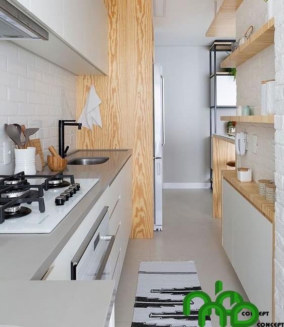 Mẫu thiết kế thông minh với không gian nhà bếp chật hẹp