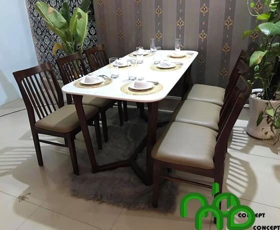 Mẫu bộ bàn ăn gỗ óc chó đẹp hiện đại