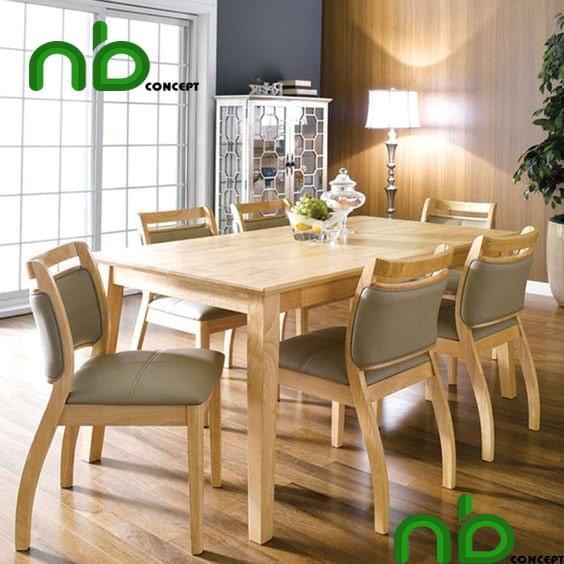 Bàn ăn gỗ với thiết kế từ gỗ tự nhiên