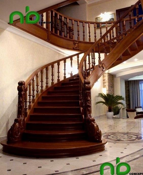 Mẫu thiết kế cầu thang gỗ đẹp và nổi bật giữa căn nhà