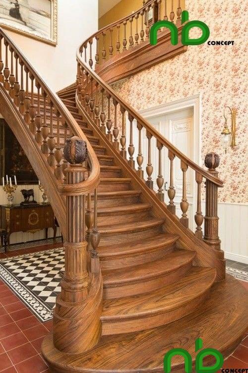 Mẫu thiết kế cầu thang gỗ đẹp pha chút cổ kính