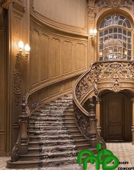 Mẫu thiết kế cầu thang gỗ đẹp bán cổ kính