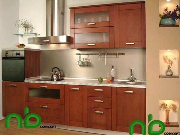 Tủ bếp gỗ căm xe nhỏ đơn giản