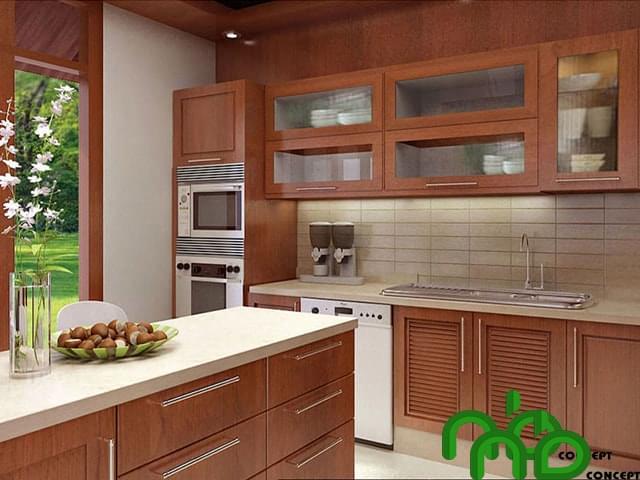 Tủ bếp được làm bằng gỗ xăm xe hoàn toàn tự nhiên