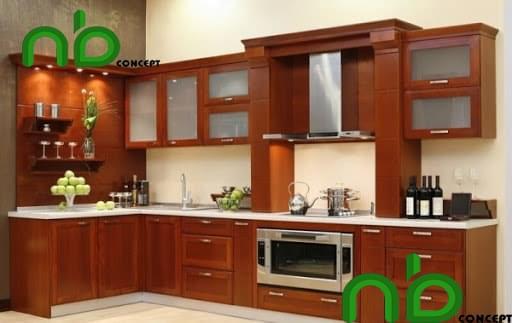 Tủ bếp làm bằng gỗ căm xe đẹp hình chữ L