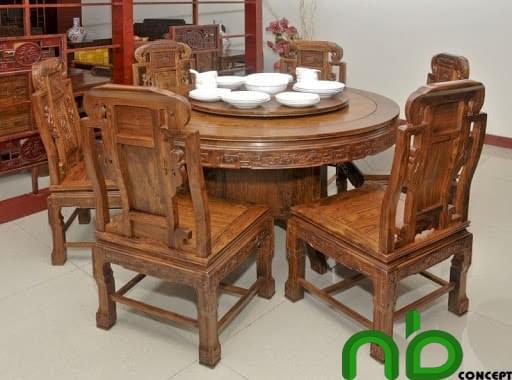 Bộ bàn ăn tròn bằng gỗ