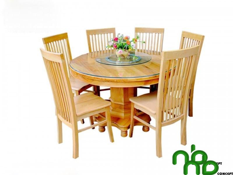 Mẫu bộ bàn ăn tròn 6 ghế
