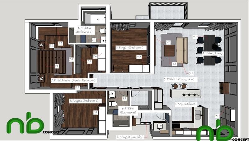 Lên concept và thiết kế phần mặt bằng nội thất biệt thự