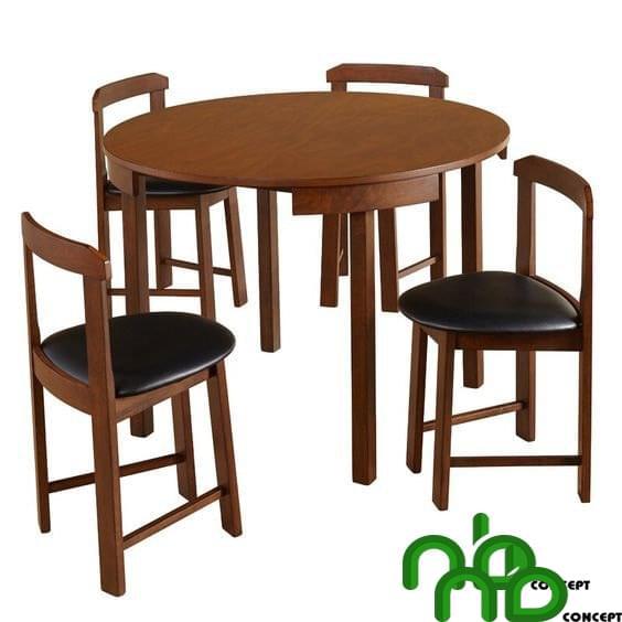 Bộ bàn ghế ăn tròn màu gỗ óc chó sang trọng