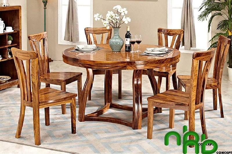 Mẫu bộ bàn ghế gỗ thịt tròn đẹp
